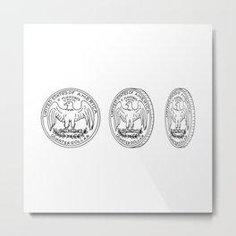 United States Quarter Dollar Reverse Drawing Metal Print
