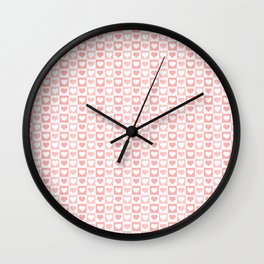Coral Pink & White Valentines Love Heart Sketch Pattern Wall Clock