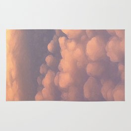 Pink Cotton Ball Clouds Rug