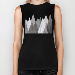Marble Gray Copper Black and White Mountains Biker Tank