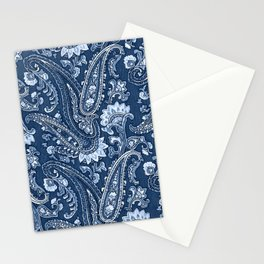 Blue indigo paisley Stationery Cards