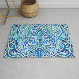 Sapphire and Emerald Watercolor Tulip Damask Rug