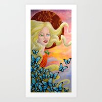aurora Art Prints featuring Aurora by Amanda Shelton