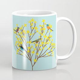 birds on forsythia bush designed for bird and nature lovers Coffee Mug