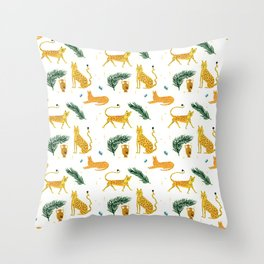 Big Cat Party Throw Pillow