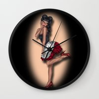 minnie mouse Wall Clocks featuring Minnie by Hayley Blythe Art