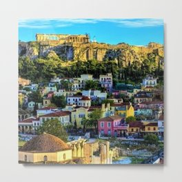 Daytime view of the Acropolis ruins; Athens, Greece Metal Print