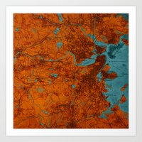 vintage map Art Prints featuring Vintage map by Larsson Stevensem