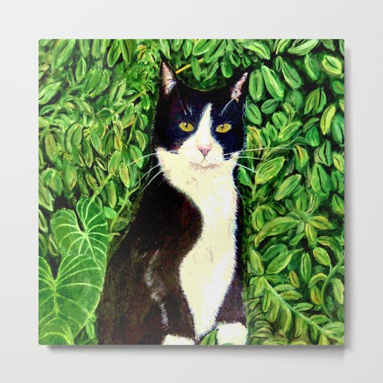 Kitty in the Woods Metal Print