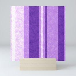 Retro Vintage Lilac Grunge Stripes Mini Art Print