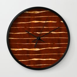 Red Earth Suede Leather and Gold Veins Design Wall Clock