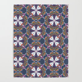 apache, tribal pattern in grey Poster