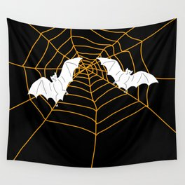 Halloween Orange Spider web with Bats Wall Tapestry