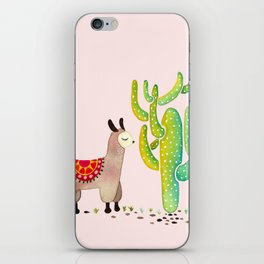Cute alpacas with pink background iPhone Skin