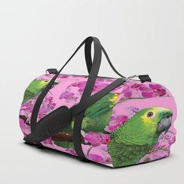 PINK TROPICAL GREEN PARROT & FUCHSIA ORCHIDS  ART Duffle Bag