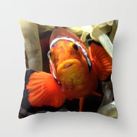 finding nemo Throw Pillows featuring Nemo  by RevatiN