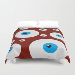 All eyes on you - lots of blue eyes in red background Duvet Cover