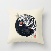 tiger Throw Pillows featuring Taichi Tiger by Steven Toang