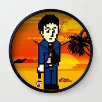 scarface Wall Clocks featuring Pixel Scarface by Rapsmyinitials