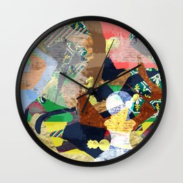 Abstract composition with chess pieces Wall Clock