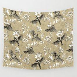 Flowers and Flight in Monochrome Golden Tan Wall Tapestry
