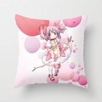 madoka Throw Pillows featuring Madoka Kaname by Yue Graphic Design