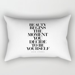Beauty Begins the Moment You Decide to Be Yourself black and white quotes love life typography quote Rectangular Pillow
