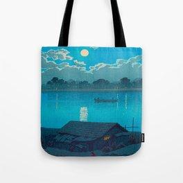 Vintage Japanese Woodblock Print Fishing Village At Night Fishing Boat Moonlight Tote Bag