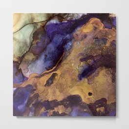 Purple and Gold Abstract Metal Print