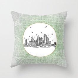 Philadelphia, Pennsylvania City Skyline Illustration Drawing Throw Pillow