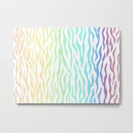 Rainbow Zebra stripes pattern. Digital illustration. Metal Print