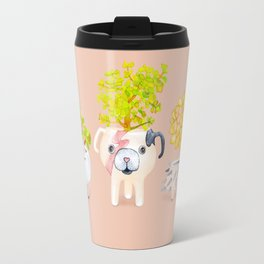 Kawaii dog cat hedgehog succulents Travel Mug