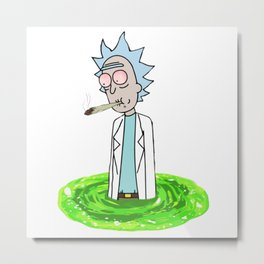 Rick smoking weed in a portal 420 Metal Print