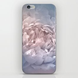 Blushing Blue and Cream Peony - Floral iPhone Skin