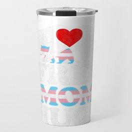 Womens LGBTQ Trans Pride Mama Bear For Women Free Mom Hugs V-Neck T-Shirt Travel Mug