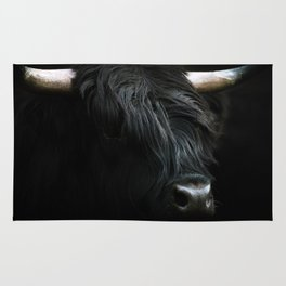 Minimalist Black Scottish Highland Cattle Portrait - Animal Photography Rug