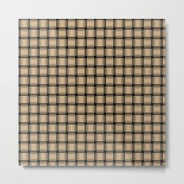 Small Tan Brown Weave Metal Print