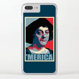 Columbus Merica Propaganda Pop Art Clear iPhone Case