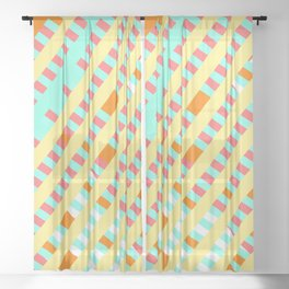African Inspired Tropical Thatch Print Sheer Curtain
