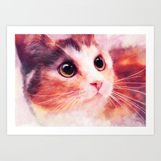 Innocent eyes (watercolor cat painting, art, aquarell) Art Print