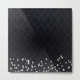 Glitter Diamonds on black damask - Luxury design Metal Print