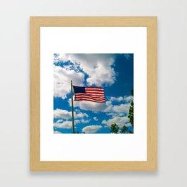 American Flag in Big Blue sky Framed Art Print
