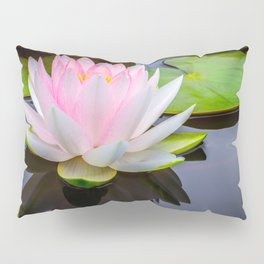 Pink Lotus & Green Lily Pads On A Jet Black Pond Pillow Sham