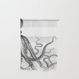 Half Octopus (Right Side)   Black and White Wall Hanging
