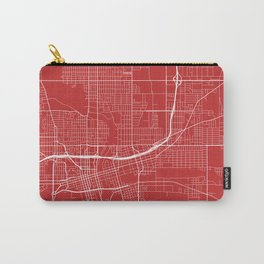 Des Moines Map, USA - Red Carry-All Pouch