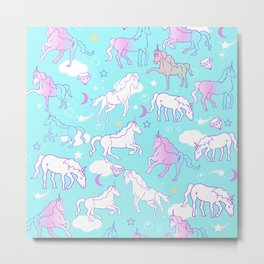 Unicorns In The Sky Metal Print