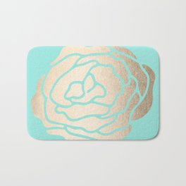 Rose in White Gold Sands on Tropical Sea Blue Bath Mat