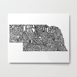 Typographic Nebraska Metal Print