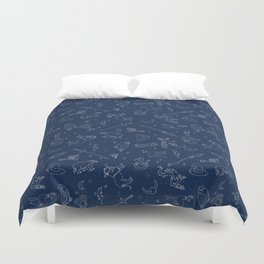 Magic Constellations - magic, magic school, wizard, witch, witchcraft, broom, wand, spell, house, ow Duvet Cover