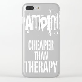 Camping_ Cheaper Than Therapy Clear iPhone Case